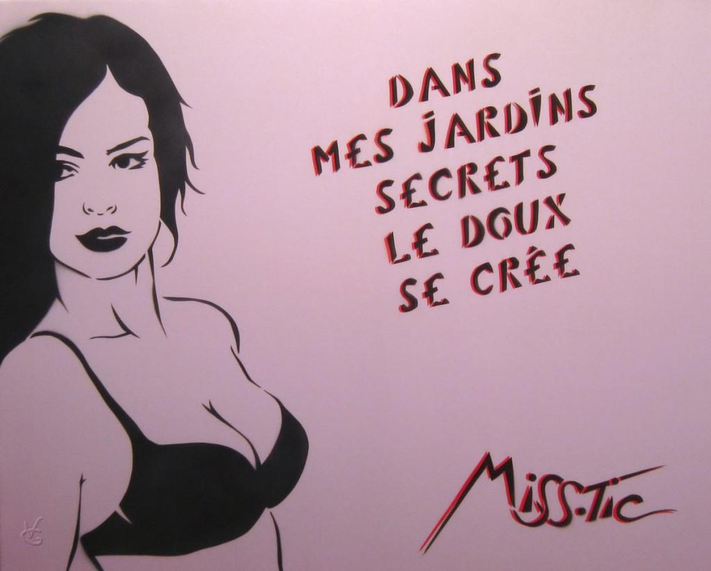 Photo VG du tableau de Miss.Tic (2012) « Dans mes jardins secrets, le doux se crée » , 92 x 73cm, encre aérosol sur soie.